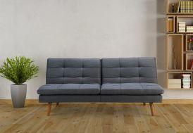 canapé convertible en lit gris foncé en bois et tissu