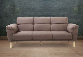 canapé lit 3 places en bois avec accoudoirs et revêtement en lin marron