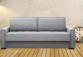 canapé en lin et en bois gris clair convertible en lit