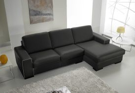 Canapé d'Angle en Cuir Reconstitué Noir 2P Sandra 232x155x87cm (l,l,h)