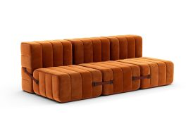 Canapé modulable 3 places en tissu Ambivalenz Curt orange