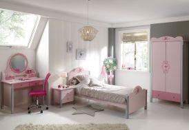 Chambre Complète de Princesse : 1 Lit + Armoire 3P + Chevet + Bureau