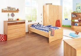 Chambre d'Enfant en Hêtre Natura : 1 Lit 1 Commode et 1 Armoire