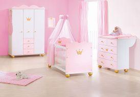 Chambre de Bébé en Épicéa Massif Blanc Rose et Or Princesse