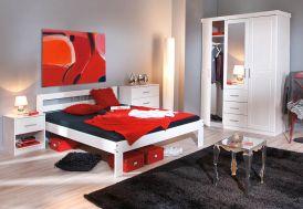 Chambre Complète : Lit 140x190 + Armoire 3P/3T + Commode + Chevet