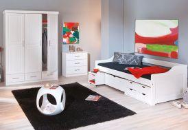 Chambre Complète : Lit 90x190 avec Tiroirs + Armoire 3P + Commode