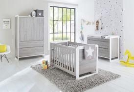 Chambre complète pour Bébé et Enfant avec Lit Évolutif en Bois Curve commode à langer armoire modulable grise Pinolino