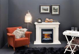 Foyer électrique noir dans cheminée décorative blanche à encastrer