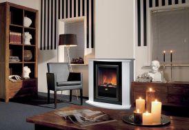 cheminée électrique en MDF avec foyer décoratif flammes lumière et miroirs