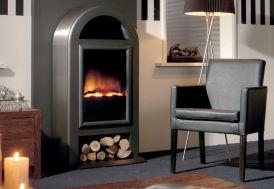 cheminée électrique avec foyer décoratif et bûcher design scandinave