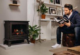 cheminée électrique poêle décoratif en métal avec technologie HDTV et son crépitement