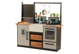 cuisine pour enfants en bois imitation ferme avec équipement intégré