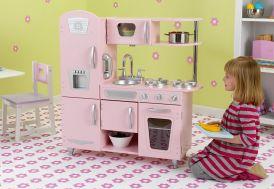 cuisine en bois pour enfants rose toute équipée