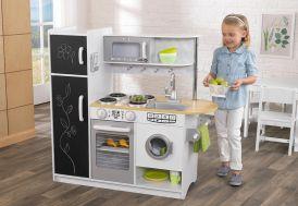 cuisine en bois jouet pour enfant 1,10 m blanche toute équipée