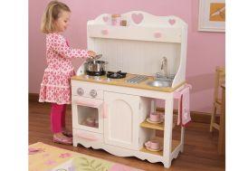 cuisine en bois jouet pour enfants rose et blanche avec coeurs