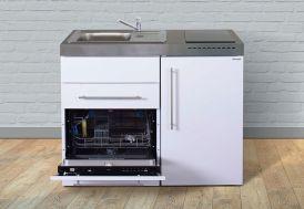 Kitchenette en métal blanc Stengel équipée : réfrigérateur, lave-vaisselle et plaque de cuisson