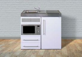 kitchenette pour studio blanche avec micro-ondes, frigo et plaque vitrocéramique