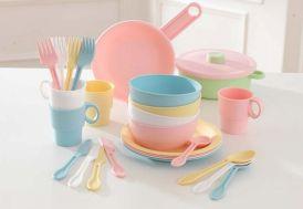 batterie de cuisine en plastique pour cuisine pour enfants coloris pastel