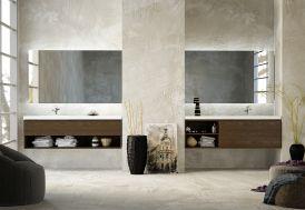 Double ensemble de meubles de salle de bain en bois de Frêne et marbre