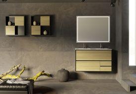 Ensemble de meubles de salle de bain en bois de chêne stratifié et touche métallique