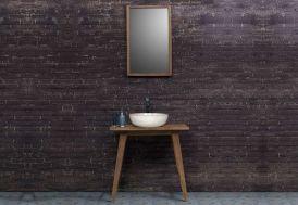 Meuble de Salle de Bain en Teck sur Pieds avec Vasque Terrazzo + Miroir