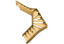 Escalier en bois double quart tournant sans contremarches 288 cm