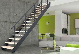 Escalier Droit en Métal et Bois Réglable + Rampe Greenwich