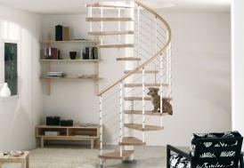 Escalier en Colimaçon Kloe ∅ 120 cm Hêtre Clair et Acier (pls coloris)
