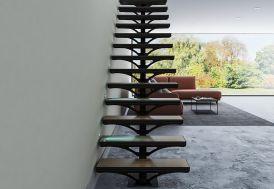 escalier sur mesure en bois et métal avec limon central