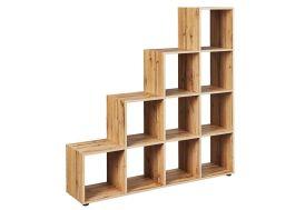 Séparateur de pièces en bois imitation chêne 10 étagères