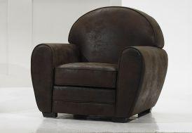 Fauteuil en Cuir Véritable Vintage 93x93x85cm (l,l,h)
