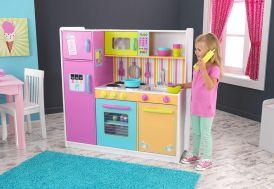 cuisine en bois colorée pour enfants toute équipée 1,10 m