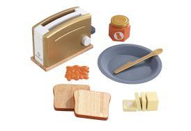 Grille-pain factice en bois avec accessoires pour enfant