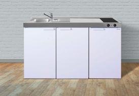 Kitchenette en métal blanc avec réfrigérateur et plaque de cuisson vitrocéramique