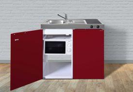 Kitchenette en métal pour studio avec réfrigérateur, micro-ondes et plaque vitrocéramiques 100 cm