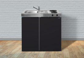 kitchenette en métal Stengel 90 cm : réfrigérateur et plaques électriques