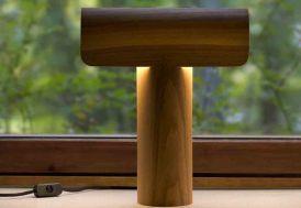 Lampe à poser en noyer Design Teelo 33x38cm