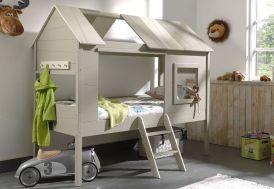 Lit pour enfant en cabane en bois montée sur pilotis 90 x 200 cm