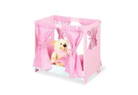 Lit de poupées en bois avec rideaux et parure de lit rose en coton