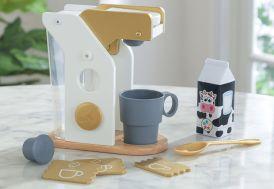 Machine à expresso pour enfant en bois et plastique avec accessoires