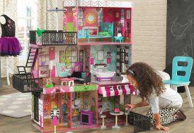 grande maison de poupées 1,10 m rose avec commerces et loft