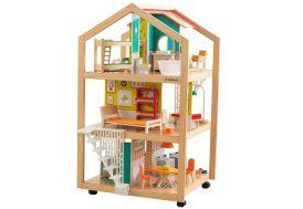 maison de poupées en bois 360° 110 cm 3 étages