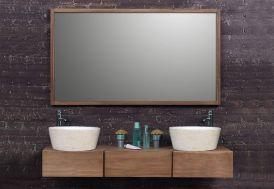Meuble de Salle de Bain en Teck avec Deux vasques en Terrazzo + Miroir