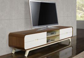 Meuble de Télévision en Noyer et MDF Laqué 180x40x40cm (l,l,h)