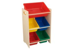 meuble de rangement en bois pour enfant avec bacs en plastique coloré
