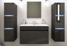 Meuble de salle de bain gris en bois avec 2 colonnes LED