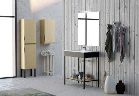 Meuble Salle de Bain Bois/Métal + Vasque et Miroir Ambiente 12
