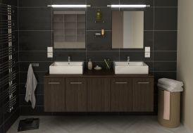 Meuble de salle de bain en bois avec double vasque et 2 miroirs