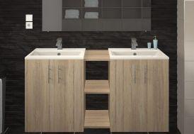 Salle de bain avec double vasque meuble en bois