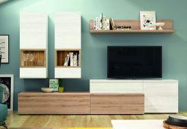 meuble tv avec deux vitrines suspendus 270 x 195 cm